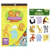 Just4fun Two (2) Books of JUNGLE Animal STICKERS (Total 580) & 36 ZOO Stickers ELEPHANT Zebra GIRAFFE - PARTY Favors - SAFARI Kid's ACTIVITY Craft CLASSROOM Rewards MOTIVATIONAL