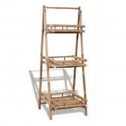 vidaXL Сгъваема бамбукова поставка за растения с 3 рафта