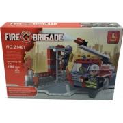 Set de constructie Bibilel pentru copii Masina de pompieri 133 piese BBL1662