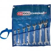 KS Tools CHROMEplus Doppel-Maulschlüssel-Satz 15° Gabelstellung 7 Teile, VE 2 Stk