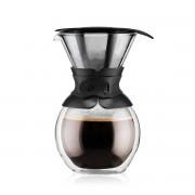 Bodum POUROVER Cafetière à double paroi, 8 tasses, 1.0 l, filtre permanent maille inox Noir