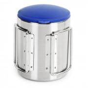 Taza de agua de camping taza w / plegable manejar - plata + azul (220ml)