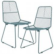 """[en.casa]® Étkezőszék """"Sofia"""" design fém szék két darabos szett 92 x 47.5 cm türkiz"""