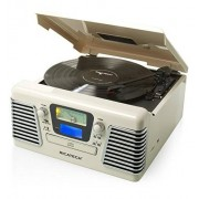 Ricatech rmc100 Crème 5 in-1 Music Center platenspeler (CD DVD-speler, radio, MP3, USB, SD-micro-sd-kaartsleuf, Audio) Wit
