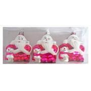 Елочные украшения Дед Мороз 8 см, 3 шт., розовый.