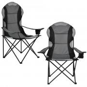 Комплект от 2 броя стола за риболов Комплект кръгла дизайнерска бар маса 112 x 87 cm Черен/Сив