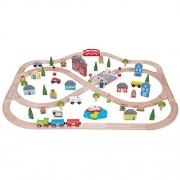 Bigjigs Rail Wooden Town and Country Train Set - 101 Play Pieces