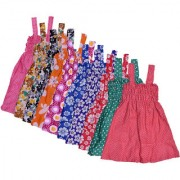 IndiWeaves Baby Girls Cotton Sleevless Printed Frock (Pack of 10)