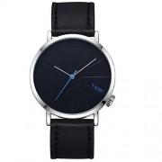 Walfront Reloj de Vestir Casual para Hombres de TOMI Reloj de Cuarzo de Hombres de Moda Reloj de Cuarzo Redondo Dial (Correa Negra + Borde Plateado)