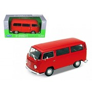 1972 Volkswagen T2 Bus, Red - Welly 22472 - 1/24 scale Diecast Model Toy Car