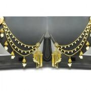 Rabbi Gold Finish Hanging Antique Bahubali Pearl Earcuff Earchain Earring