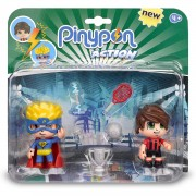 Famosa Pinypon Action Pack de 2 Figuritas Superhéroe y Futbolista