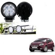 Auto Addict DEVICE 4 inch 9 LED 27Watt Round Fog Light with Flood Beam Auxiliary Lamp Set Of 2 Pcs For Fiat Punto