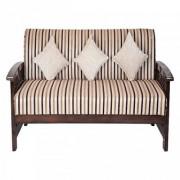 Karigar -Solid teak wood 3+1+1 Striped fabric Sofa set
