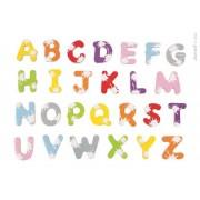 JANOD Drewniane literki magnesy - 52 magnesy do nauki literek, czytania pierwszych słów,