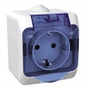 Cedar Plus IP44 vízmentes földelt csatlakozóaljzat (dugalj) gyermekvédelemmel, csapófedéllel, 2P+F, fehér színben, komplett szerelvény, falon kívül, vízmentes (IP44) 16A 250V (Schneider Electric WDE000543)