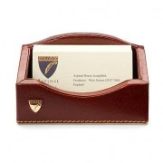 Business Card Holder in Cognac EBL and Stone Suede