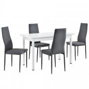 [en.casa]® Mesa de comedor Minimalista - 120cm x 60cm x 75cm - Blanco - para 4 Personas - Set de 4 x Sillas de diseño - Tapizado de tela - 96 x 43 x 52 cm - Gris - Juego de comedor