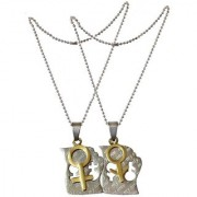 Men Style His And Hers Couples Gift Heart Male And Female Sysmbol Puzzle Titanium Steel Matching Necklace Gold And Silver Stainless Steel 00 Necklace Pendent For Men And Women