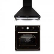 Klarstein Victoria, комплект, вградена фурна, кухненски абсорбатор, ретро дизайн, черен цвят (Set_Victoria_schwarz)