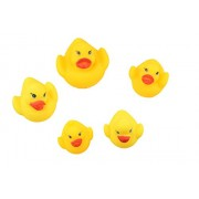 Breno Yellow duck family soft toy set of five, (Rubber Squeaky Lovely family ducks)