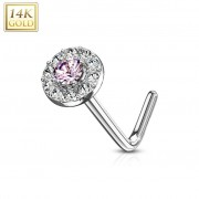Piercing Street Piercing nez Or blanc 14 carats tige L rond gemme rose