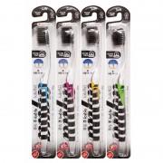 DENTAL CARE «Nano Charcoal Toothbrush» Зубная щётка c древесным углём и сверхтонкой двойной щетиной (средней жёсткости и мягкой) и прозрачной прямой ручкой, 1 шт.