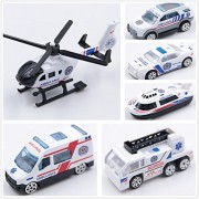 at-Mizhi 1:64 Die Cast Vehicle Gift Set Play Vehicles Race Car Toys, 6-Pieces for Kids Boys Or Girls Free Wheeling Die Cast Metal Plastic Toy Cars (Ambulance)
