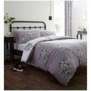 Catherine Lansfield Floral Bouquet Bedding Set - Grey - Double - Grey