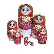 Phenovo Set of 7 Wooden Russian Nesting Dolls Matryoshka Stacking Nested Wood Dolls