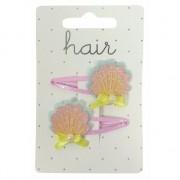 Geen Roze met gele schelpen haarspeldjes 2 stuks