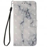 Bolsa tipo Carteira Mármore para Samsung Galaxy Xcover 4 - Branco / Cinzento