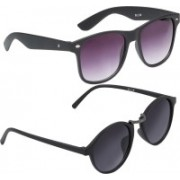 Vast Wayfarer, Round, Cat-eye, Retro Square Sunglasses(Violet, Grey)