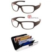 Ediotics Set of 2 Night Driving Sunglasses- Transparent & Alumi Wallet Combo