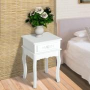 HomCom Mesa de Entrada ou Mesa de Cabeceira com 1 Gaveta – MDF e Madeira de Paulóvnia – 40 x 35 x 60 cm