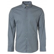 No Excess Shirt, l/sl, allover printed square steel