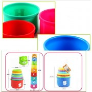ELECTROPRIME 9pcs Stacking-up Stack Toy Rainbow Color Cups Kids Baby Educational Toy Gift