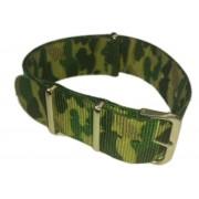 Cinturino in tessuto tipo Nato Mimetico Verde 20 mm