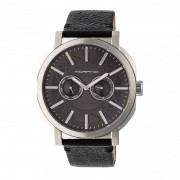 Morphic M62 Series Leather-Band Watch w/Day/Date - Silver/Black MPH6202