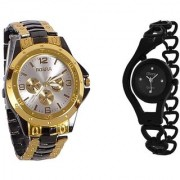 LEBENSZEIT Rosra Black and Gold and Glory Black Analog Watches for Men and Women