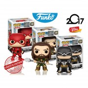 Set 3 Liga De La Justicia Funko Pop Batman Aquaman Flash