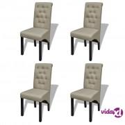 vidaXL Blagovaonske stolice od tkanine 4 kom bež