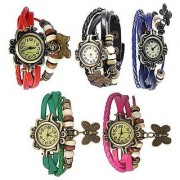 Combo of 5 Different Color Deal2dil Butterfly Vintage Watches For Women Girl STAR