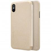 Nillkin Para IPhone X Frosted Textura PC Funda De Cuero Flip Horizontal (oro)