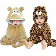 BRANDONN 3D Tiger Printed And Furry Glacier Hooded Smily Baby Blanket And Glacier Hooded Baby Wrapper Combo(Pack-2 Beige)