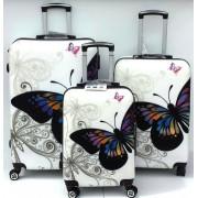 Max A29bf kufr skořepinový cestovní ABS set 3ks Motýl