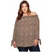Michael Kors Plus Size Leopard Off Shoulder Top Chocolate