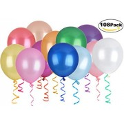 DealKits_Store 12 Colors, 108 Pack Balloons, Dealkits 12 Inches Assorted Color Thickened Helium Latex Balloons for Birthday Wedding Party Home Decoration