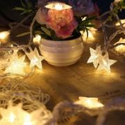 6M Con 40 Lámparas De Cadena De Forma Estrella Para Navidad O Adornar - Amarillo