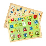 Skillofun Wooden Magnetic Twin Play Tray Combo of Alphabet Attic and Number Scene 1-20, Multi Color
